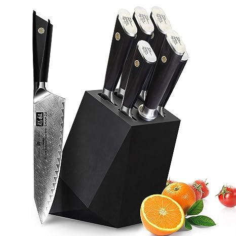 SHAN ZU Cuchillos de Cocina Damasco, Juego de Cuchillos de ...