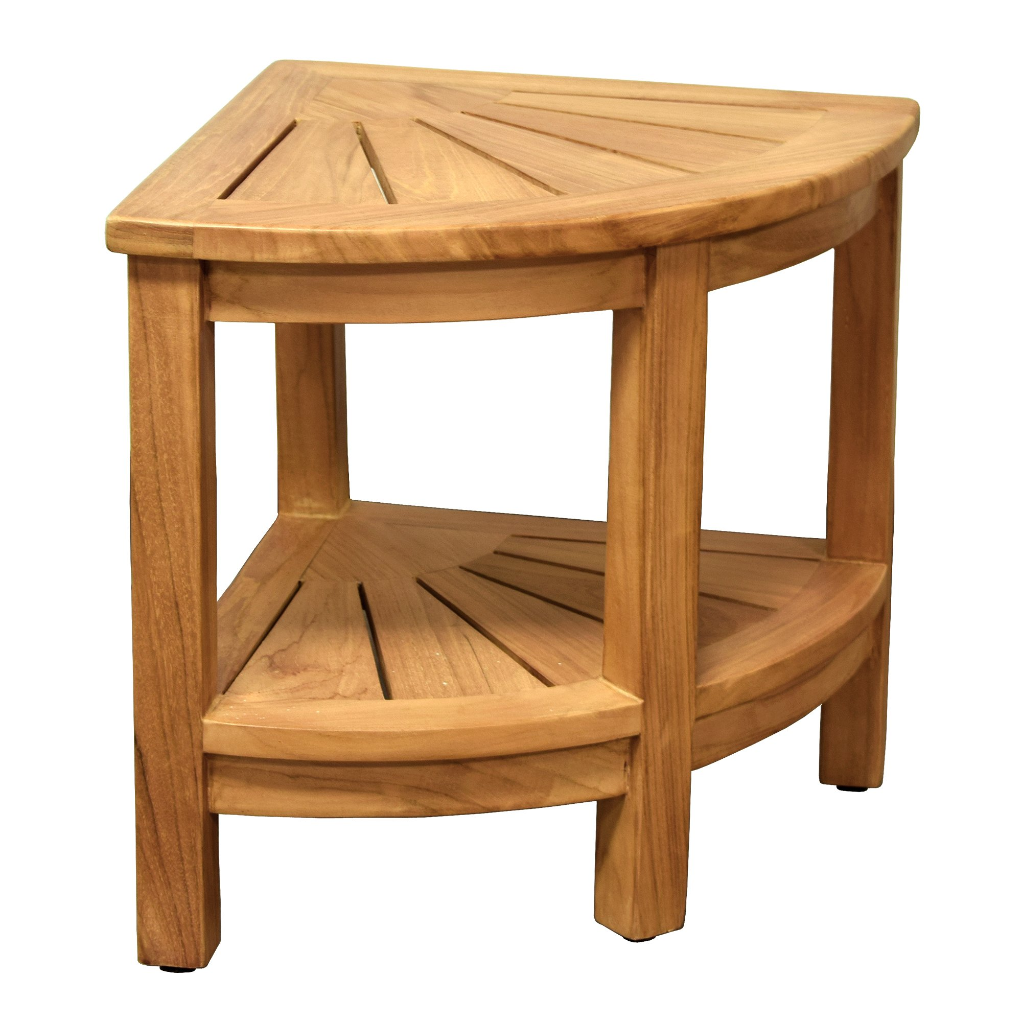 Spa Teak Wooden Free Standing Corner Shower Stool
