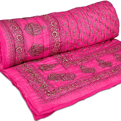 d91d7380fa GRJ India Jaipuri Light Weight Pure Cotton Bed Quilt Rajai Double Multi