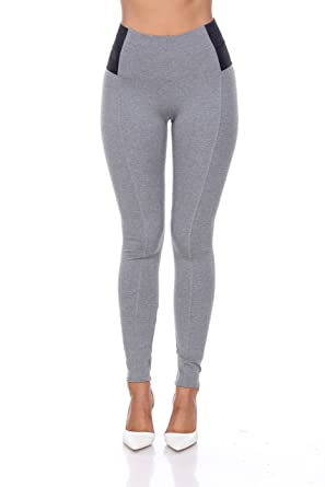 1974be20636cf Ci Sono Women's Super Stretchy Ponte Leggings Elastic Waist (Small, Grey)