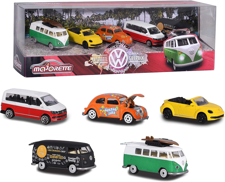 Majorette- Set de 5 Coches de Metal de 7,5cm (Escala 1:64) Marca Volkswagen 2057615 Pack vehículos de Juguete, Multicolor (2057615)