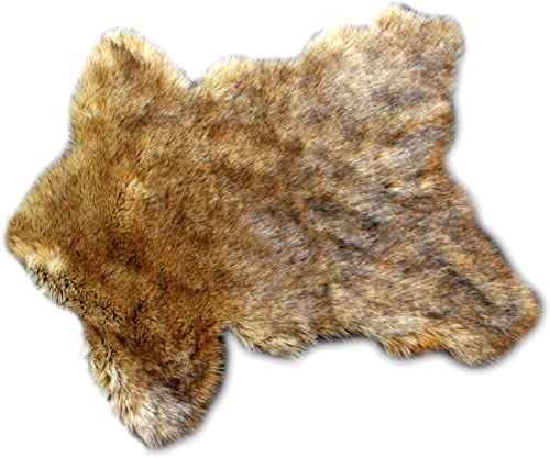 Fur Accents Timber Wolf Pelt Rug Coyote Bear Skin Area Throw Rug 4 x5