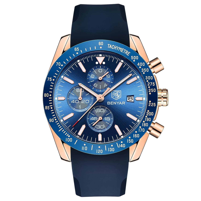 Benyar cronógrafo de Cuarzo Impermeable Reloj de Negocios Casual Reloj con Correa de Silicona: Amazon.es: Relojes