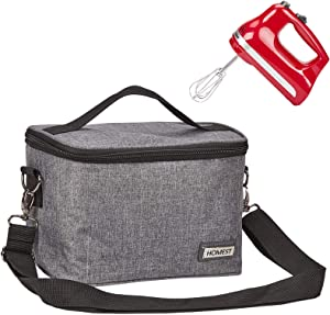 HOMEST Hand Mixer Storage Bag Compatible with Kitchenaid KHM512CL, KHM926CA, Adjustable Shoulder Strap for Easy Carrying, Grey (Bag Only)