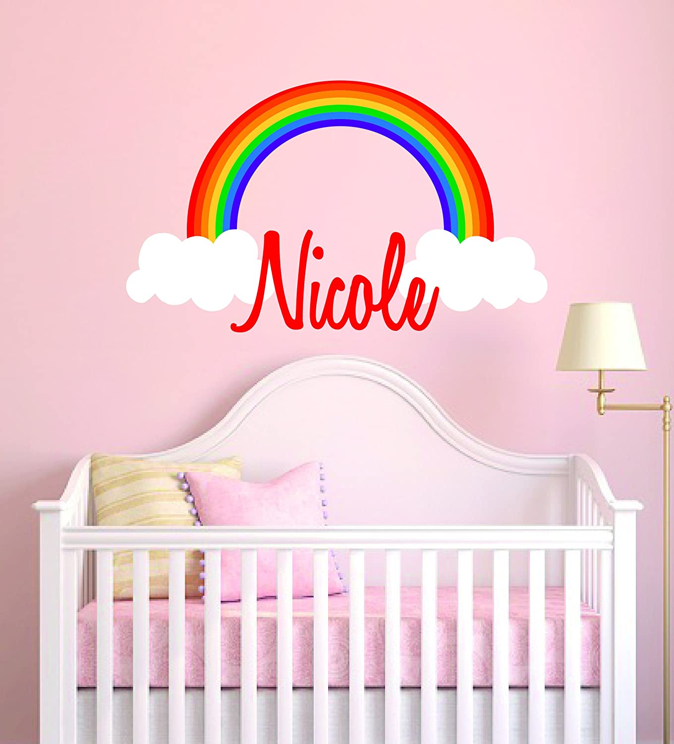 """UNICORN w// CHILD/'S NAME PERSONALIZED 22/"""" TALL LARGE WALL VINYL ART DECAL DECOR"""