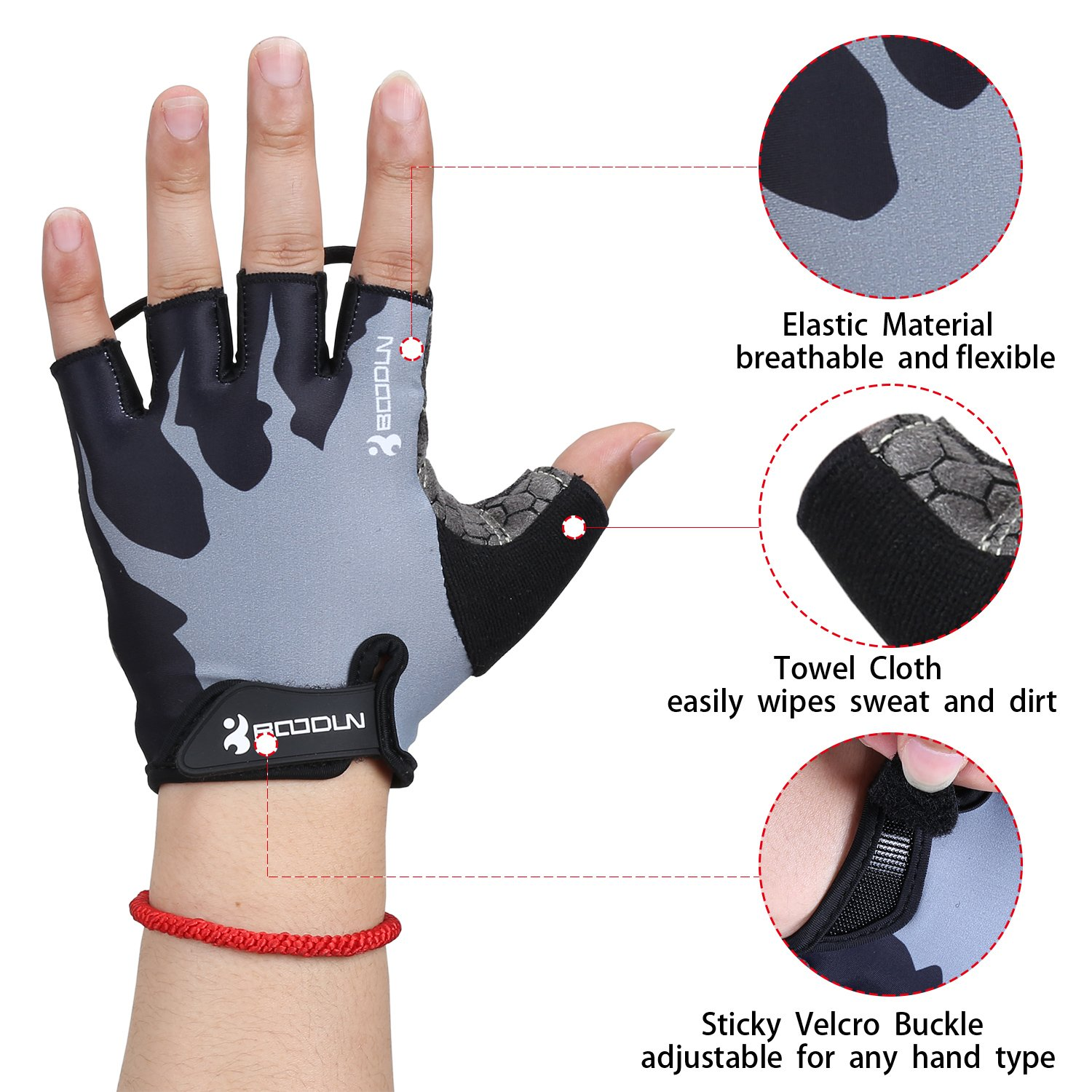 Fantastic Zone Cycling Gloves Mountain Bike Gloves Bicycle Riding Gloves with Anti-slip Shock-absorbing Pad Breathable Half Finger Biking Gloves Outdoor Sports Gloves for Men and Women