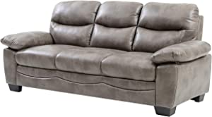 Glory Furniture Upholstered Sofa, Gray Faux Leather