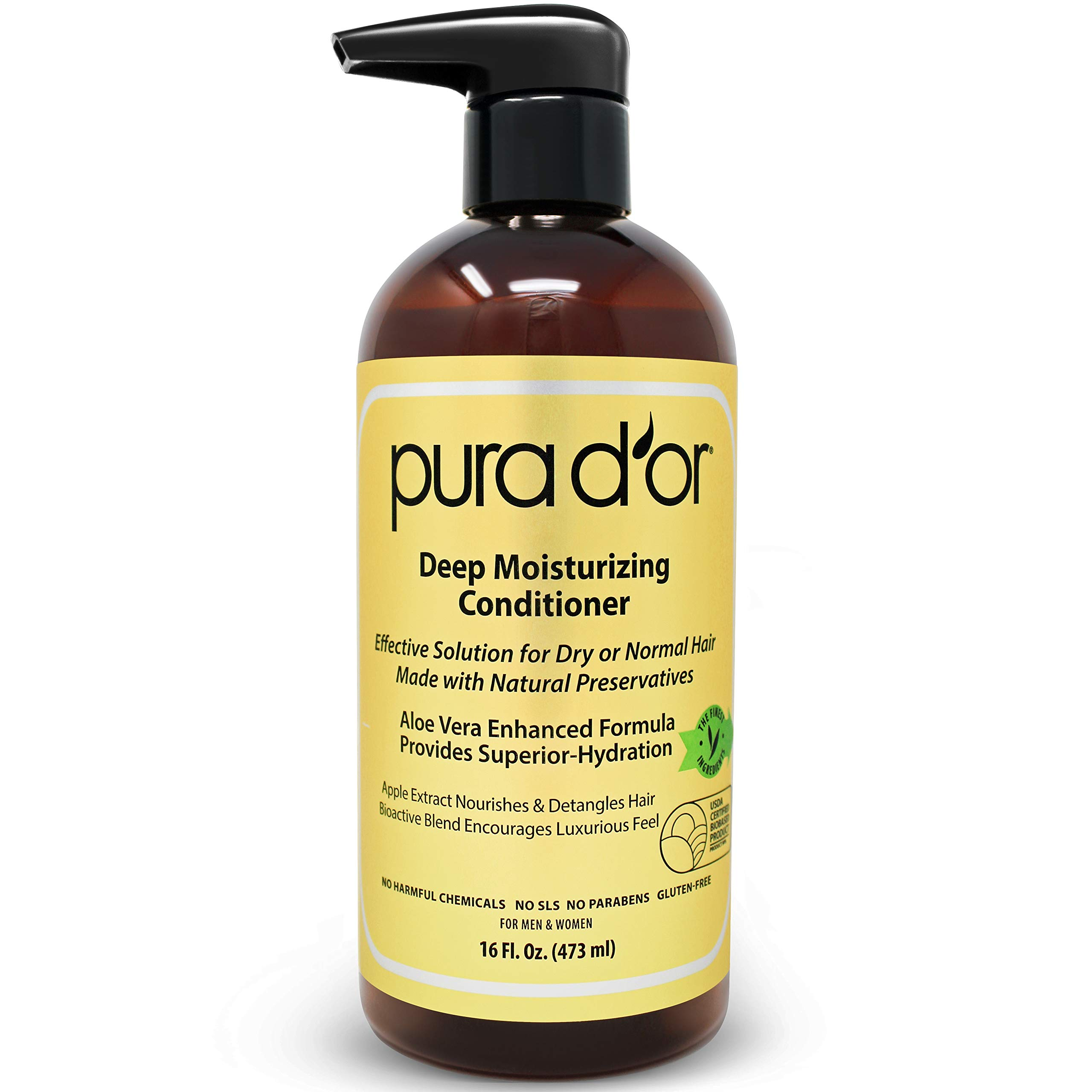 PURA D'OR Deep Moisturizing Conditioner Treatment for Dry Damaged Hair, Softens & Smooths, Color Safe, Sulfate Free with Argan Oil & Natural Ingredients, Men & Women, 16 Fl Oz (Packaging may vary)