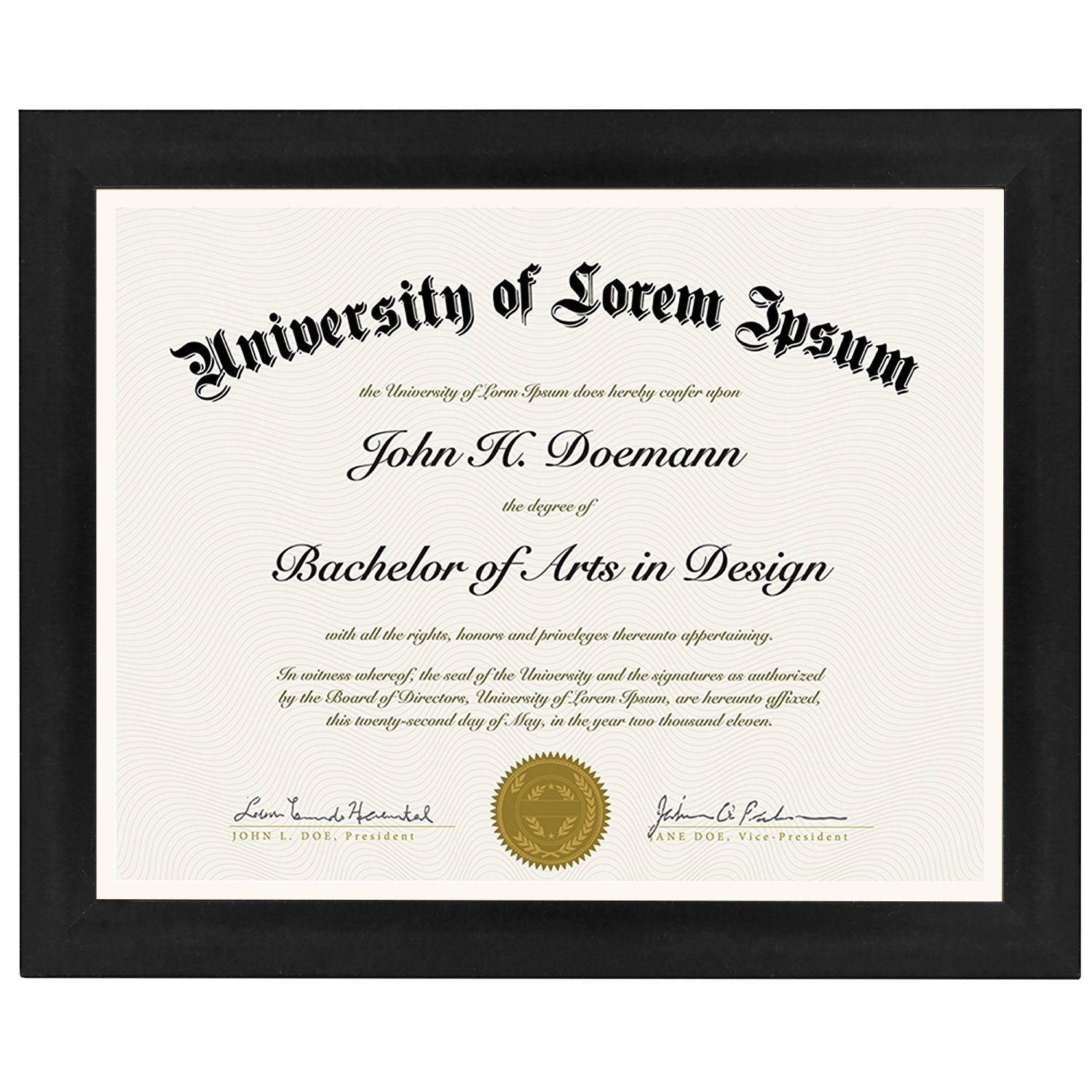 Americanflat Document Frame - Made to Display Certificates, 8.5x11, Black by Americanflat