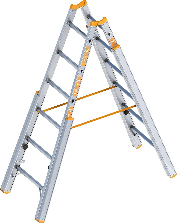 Layher 1061006 escalera paso tema aluminio escalera plegable con ajustable columnas, 1,85 m: Amazon.es: Bricolaje y herramientas