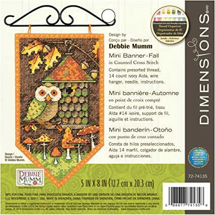 5 by 8-Inch Dimensions 14 Count Debbie Mumm Winter Banner Counted Cross Stitch Kit