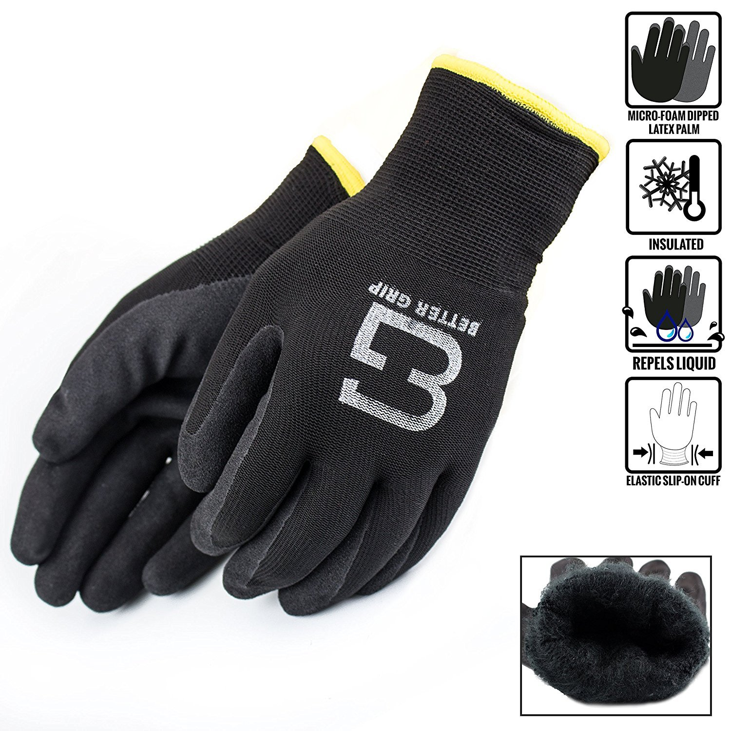Better Grip Insulated Winter Double Lining Rubber Coated Safety Work Gloves | 3 Pairs/Pack BGWANS (Large, Black)
