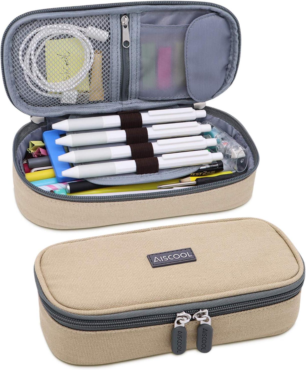 Aiscool Big Capacity Pencil Case Canvas Holder Bag Pen Organizer Pouch Stationery Box Large Storage for School Supplies School Office Stuff (Khaki)