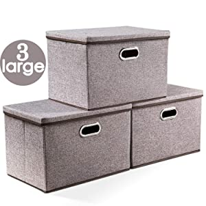 "Prandom Large Collapsible Storage Bins with Lids [3-Pack] Linen Fabric Foldable Storage Boxes Organizer Containers Baskets Cube with Cover for Home Bedroom Closet Office Nursery (17.7x11.8x11.8"")"