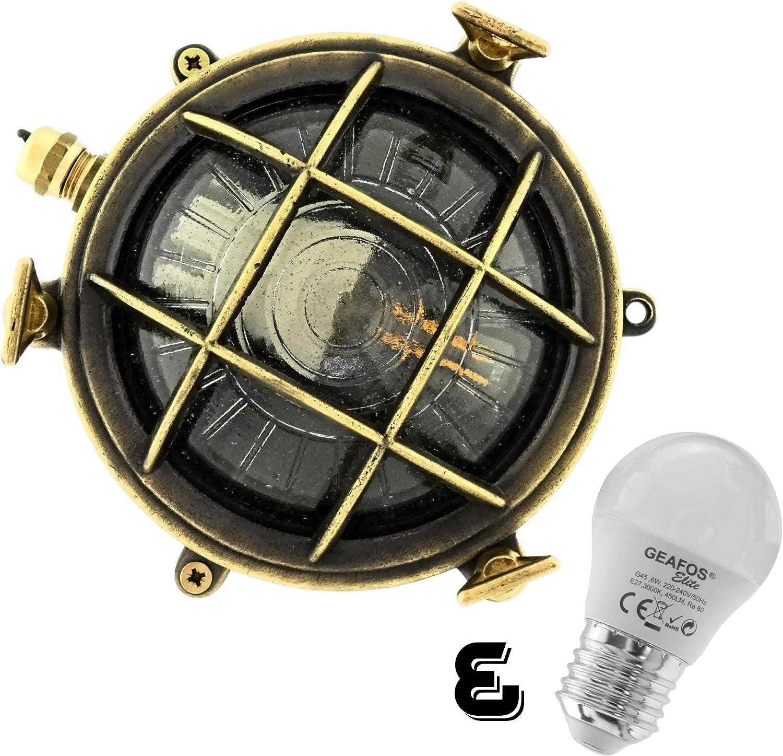 Rotterdam Schiffslampe schiffsleuchten Gitter lampe aus massivem Messing wasserdichte Leuchter Licht lampe Nautische Marine Boot Wandlampe Industrielicht LED Antikes Messing