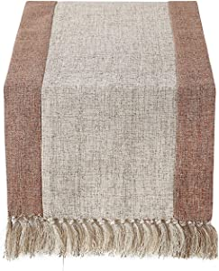 Chassic 15 x 108 inch Rustic Burlap Woven Boho Table Runners Linen with Handmade Fringe, Village Farmhouse Dining Room Dresser Decor - Beige