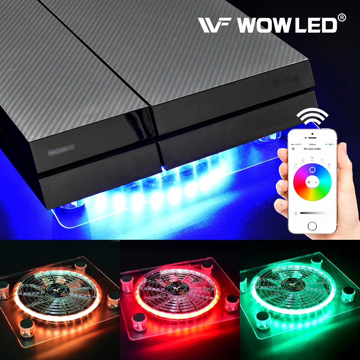 WOWLED Bluetooth Wireless Control PC Case Cooling Fan USB RGB LED Laptop Notebook Computer Cooler LED Fan Stand for PS4 Sony Playstation 4 Gaming Game XBOX One Cool Lighting Fan Thermal Fan Pad Fan