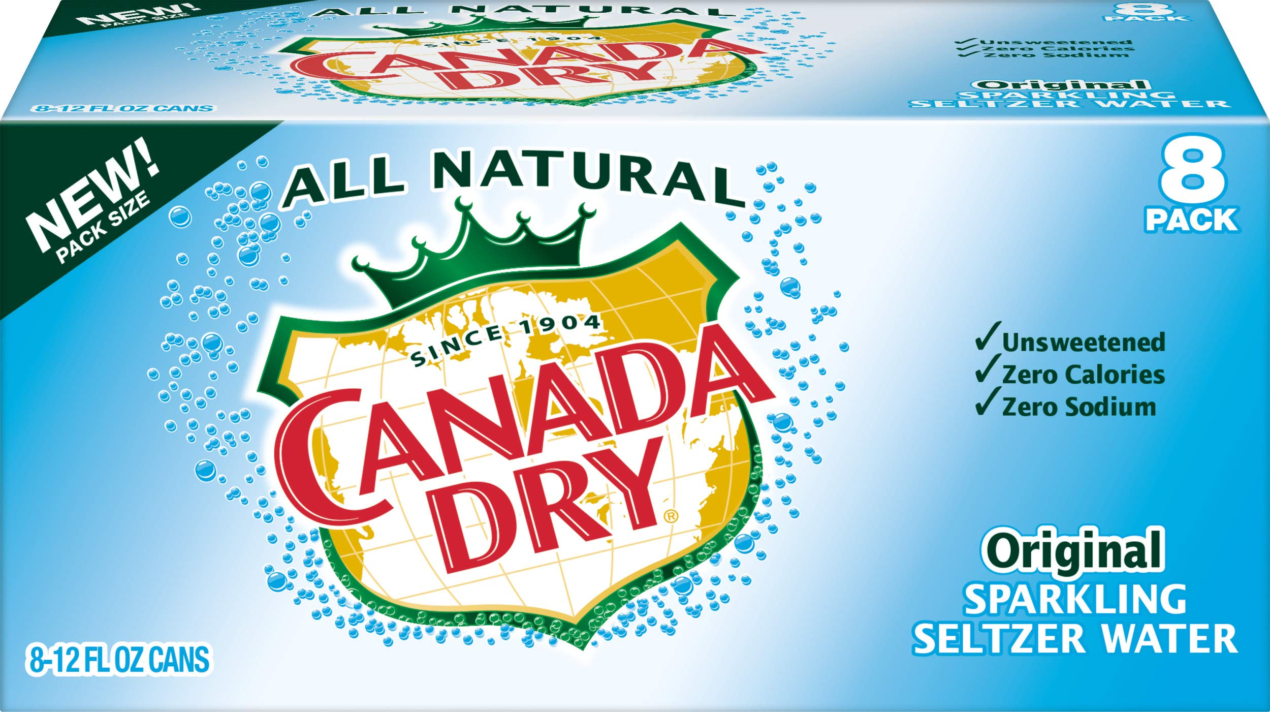 Canada Dry Original Sparkling Seltzer Water, 12 fl oz cans, 8 count