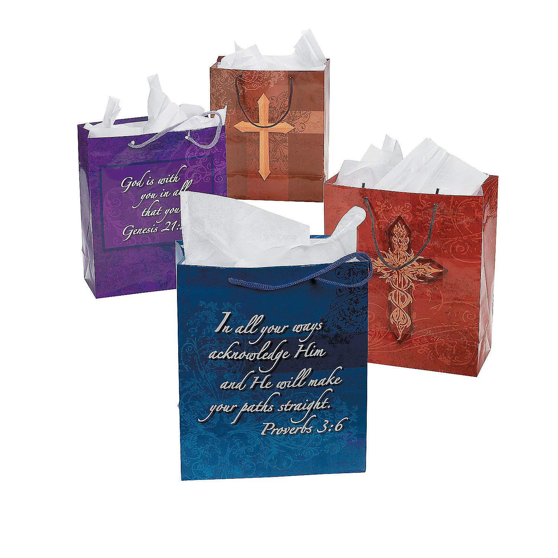 Fun Express - Religious Paper Gift Bags W/handles - Party Supplies - Bags - Paper Gift W & Handles - 12 Pieces
