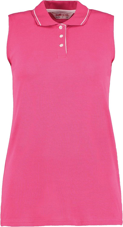 Gamegear Ladies Proactive Sleeveless Pique Polo Shirt Colour: Raspberry, Size: 12