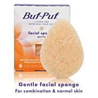 Buf-Puf Gentle Facial Sponge, Exfoliating, Dermatologist Developed, Maskne Solution, Reusable, Removes Makeup, Dirt and Excess Oil, 1 Count