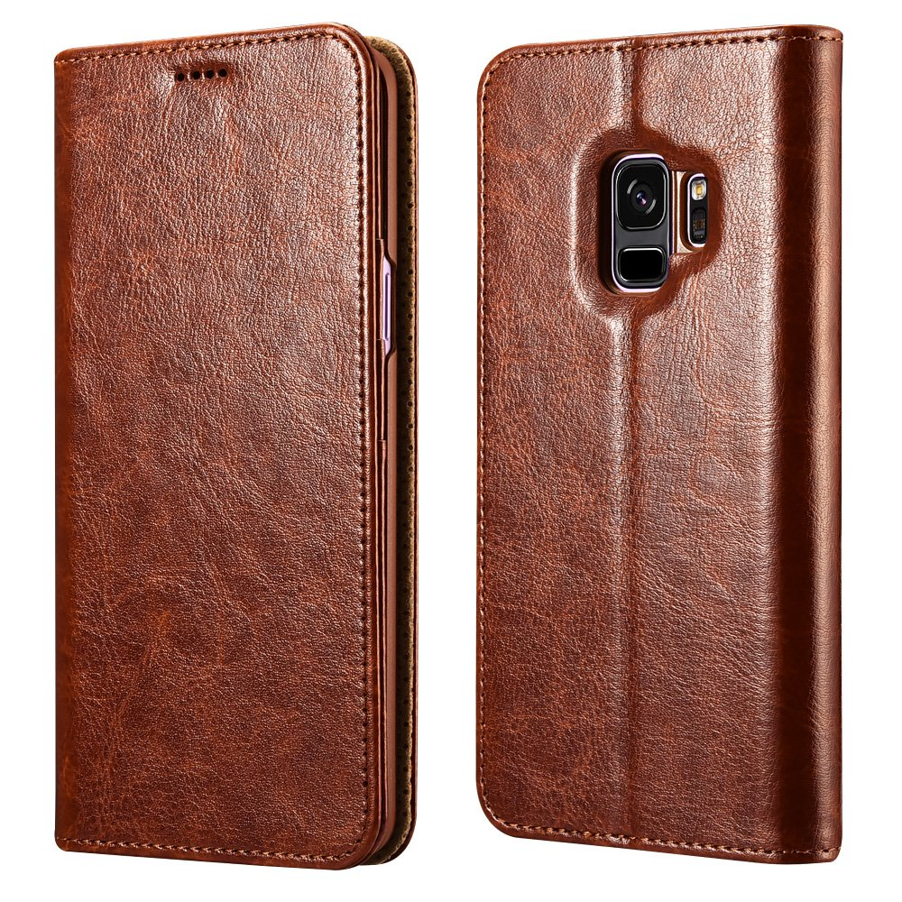 Galaxy S9 Plus Wallet Case, XOOMZ Vegan Leather Folio Flip Cover with Kickstand and Credit Card Slots for Samsung S9 Plus (2018) 6.2 Inch (Brown) 4336744544