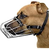 BRONZEDOG Pitbull Dog Muzzle Wire Basket Amstaff Pit Bull Metal Mask Adjustable Leather Straps
