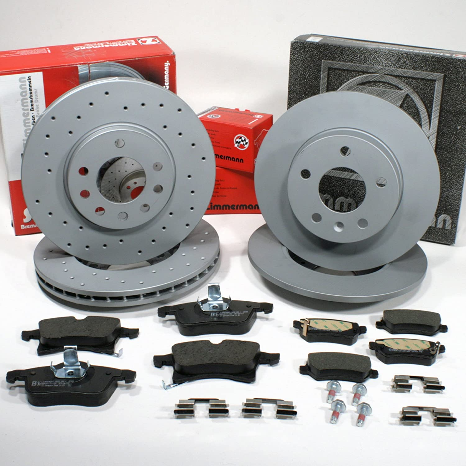 Zimmermann Brake DISCS 5-Hole Coat Z/Brakes with Brake Pads Front + Rear Autoparts-Online