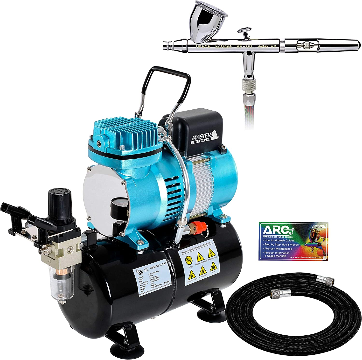 Iwata Eclipse HP CS Airbrush Set with 1/5 hp Cool Runner II Dual Fan Air Tank Compressor System Kit, Professional All-Purpose Dual-Action Gravity Feed Airbrush, 0.35mm tip, Hose, Holder, How-to Guide