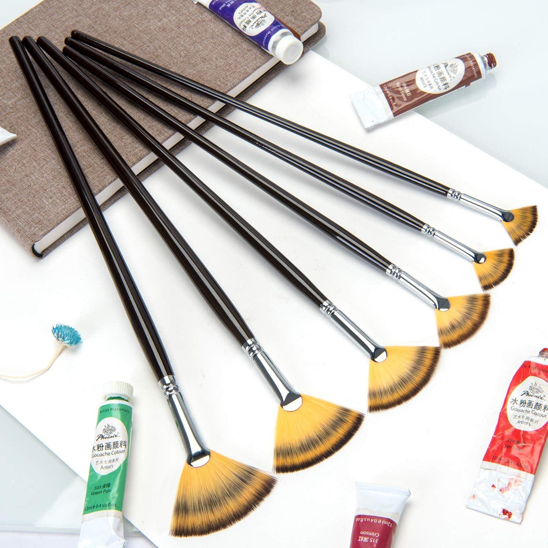 Fan Brush Set Artist Paint Brushes 6 Pcs Soft Anti-Shedding Nylon Hair Wood Long Handle Paint Brush Set for Acrylic Watercolor Oil Gouche Painting