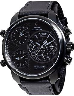 amazon com detomaso men s firenze chronograph trend schwarz detomaso casabona xxl multifunctional men s wrist watch 3 time zones stainless steel casing leather strap