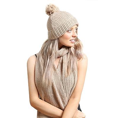 Accessoryo - câble beige dames pom tricot chapeau pom bonnet et une écharpe en boîte cadeau set
