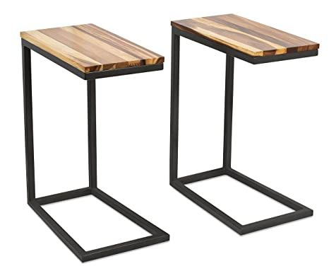 Tv Side Table.Birdrock Home Acacia Wood Tv Tray Side Table Set Of 2 Industrial Design Fully Assembled Natural Wood Bed Sofa Snack End Table