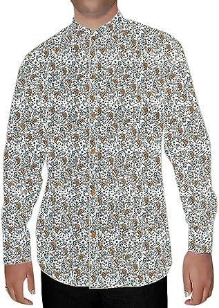 INMONARCH Crema Hombres Cuello Camisa Nehru Impresos Diseño Paisley NSH15186XX-LARGE XX-Large Crema: Amazon.es: Ropa y accesorios