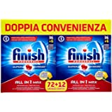 Finish All in 1 Max Pastiglie Lavastoviglie, Limone, 72 + 12 Tabs