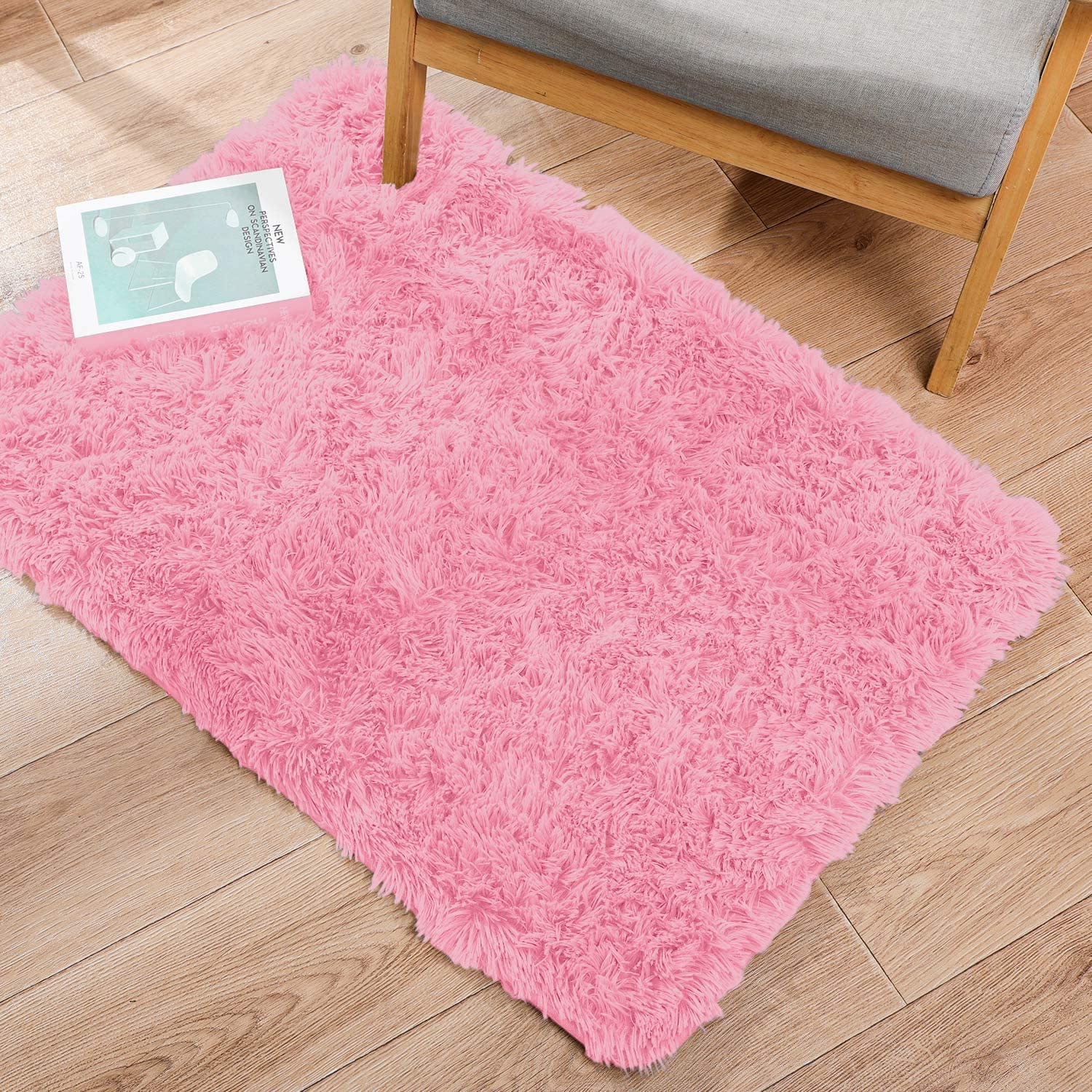 Ophanie Ultra Soft Fluffy Area Rugs for Bedroom, Luxury Shag Rug Faux Fur Non-Slip Floor Carpet for Kids Room, Baby Room, Girls Room, Play Room, and Nursery - Modern Home Decor, 2x3 Feet Pink