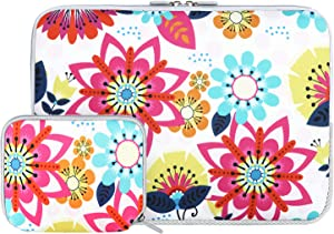 iCasso Laptop Neoprene Sleeve Bag, Protective 13-13.3 inch Laptop Cover Bag Compatible with MacBook Pro, MacBook Air, Notebook Computer, Waterproof Carrying Briefcase with Small Case (Vector Flower)