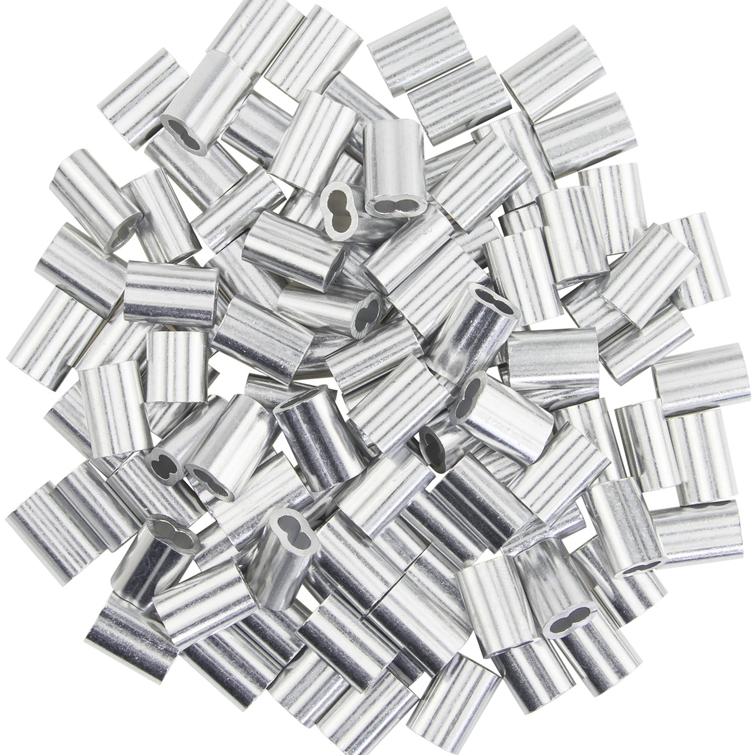 100pcs Aluminum Crimping Loop Sleeve for 2.5mm//0.1inch Wire Rope and Cable