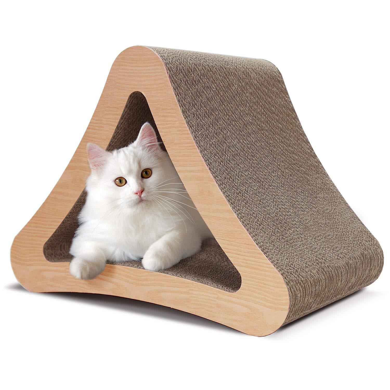 ScratchMe 3-Sided Triangle Cat Scratching Post Scratcher Cardboard with Catnip, Recycle Corrugated Vertical Cat Board Pads Prevents Furniture Damage by ScratchMe