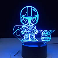 3D Illusion Star Wars Baby Yoda Night Light with Stickers for Kids 16 Color Change Decor Bedside Lamp The Child…