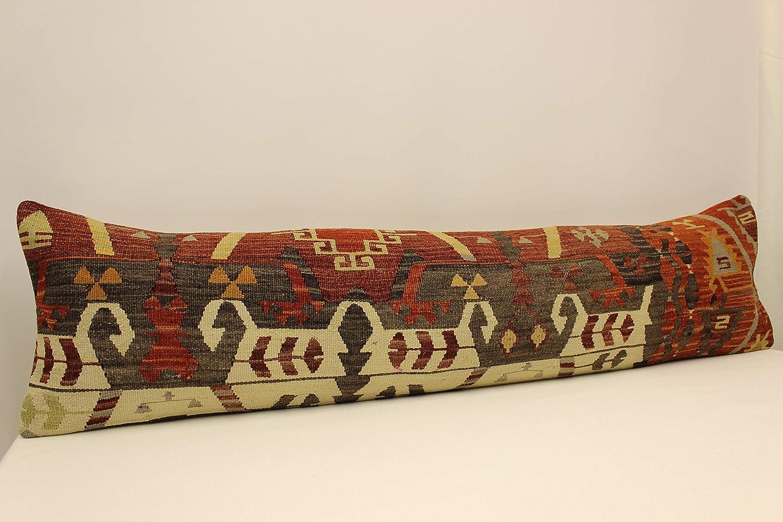 Extra Long Lumbar Cushion 12x47 inch 30x120 cm Kingsize Turkish Kilim Pillow Cover Bedding Pillow Vintage Sofa Pillow Bolster Kissen A-1003