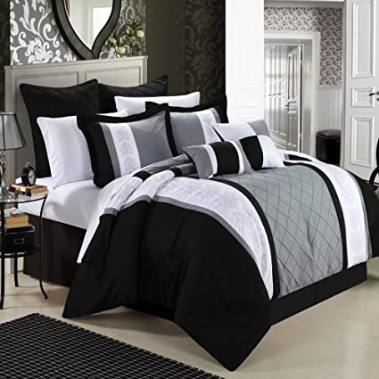 Ordinaire Chic Home 8 Piece Embroidery Comforter Set, King, Livingston Black