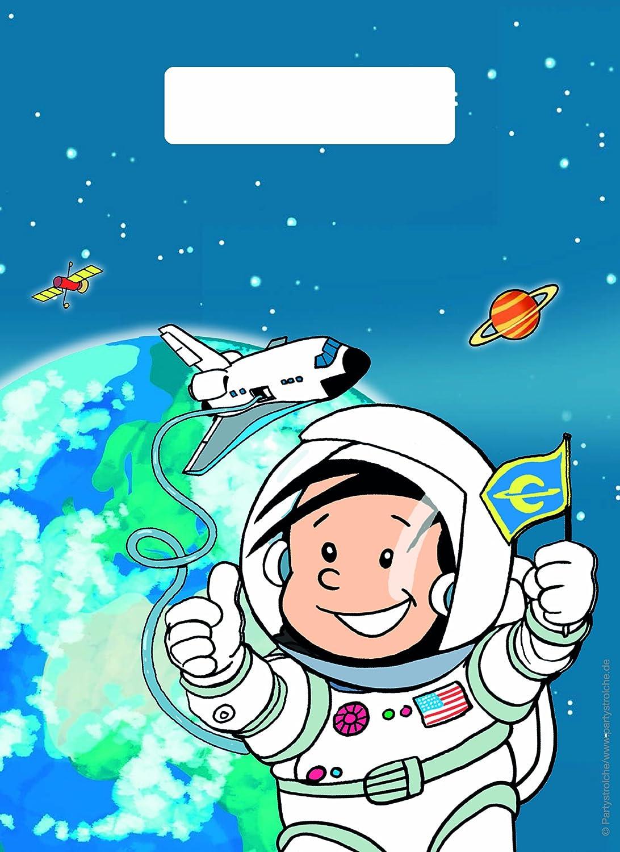 8 Partytüten * Astronaut Flo * Mit Tragegriff Für Party Und Geburtstag //  Geschenktüten Mitgebsel