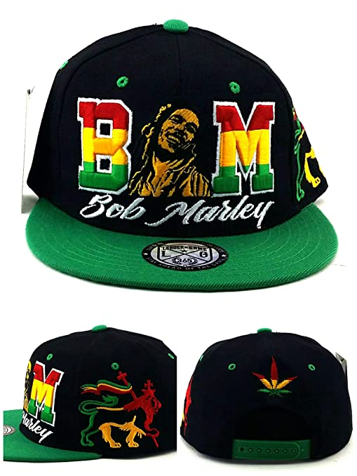 Amazon.com  Bob Marley Leader Rasta Lion Black Green Red Yellow Era Snapback  Hat Cap  Sports   Outdoors ba595d32722