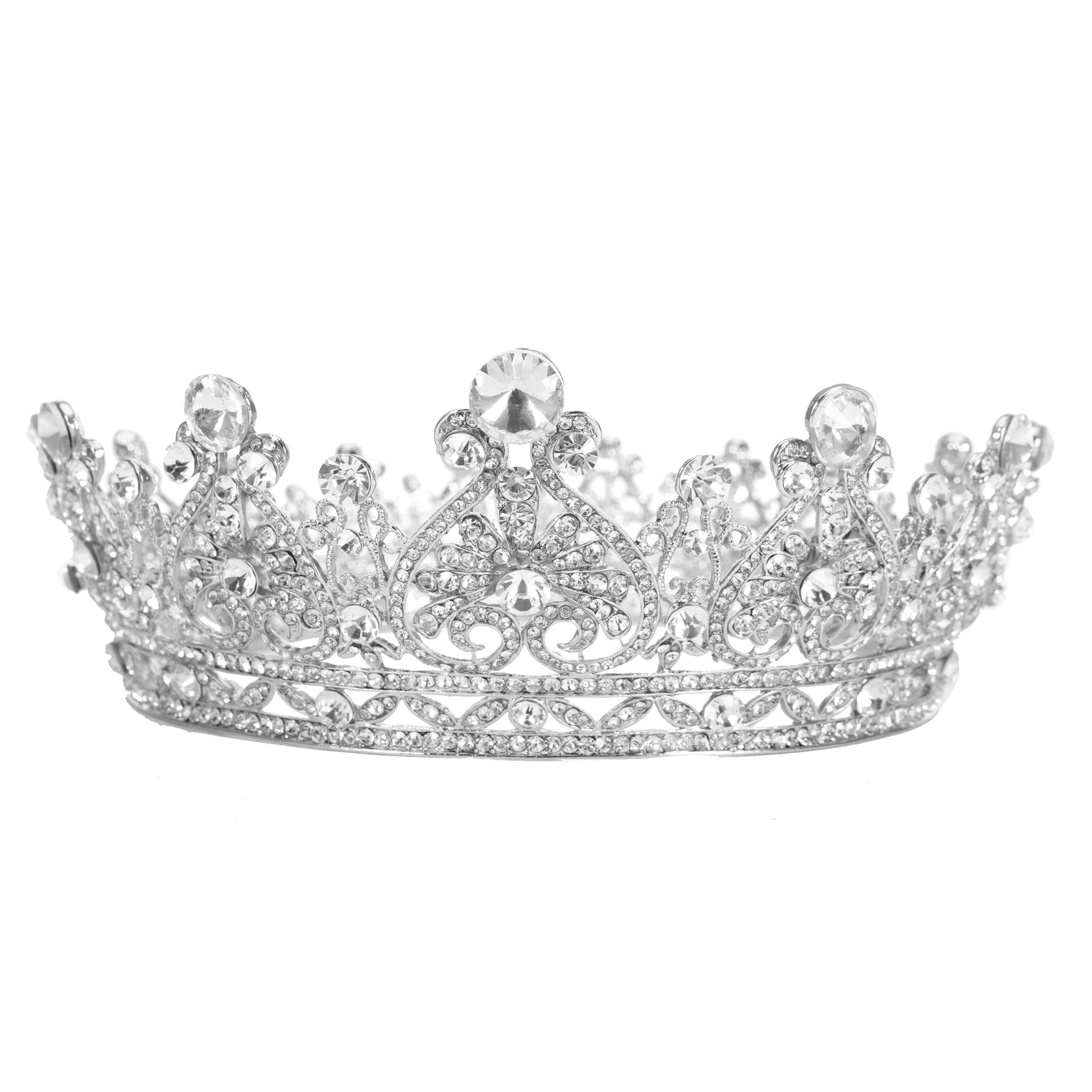 Stuff Rhinestones Crystal Round Crown Wedding Tiaras And Crowns Bridal Queen Tiara Pageant Accessory (Silver-plated)