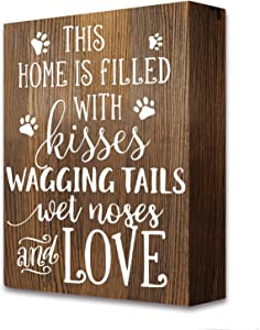 akeke Pet Dog Home Love Rustic Farmhouse Wooden Box Signs Plaque Decor Gift for Dog Mom Dad Lover