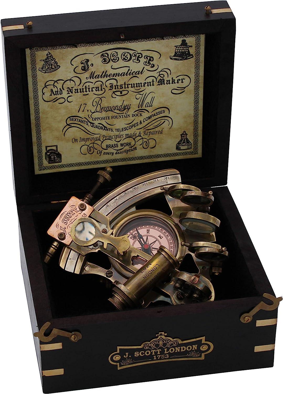 US HANDICRAFTS Handmade Astrolabe Brass Sextant inbuild Compass with Hardwood Box.
