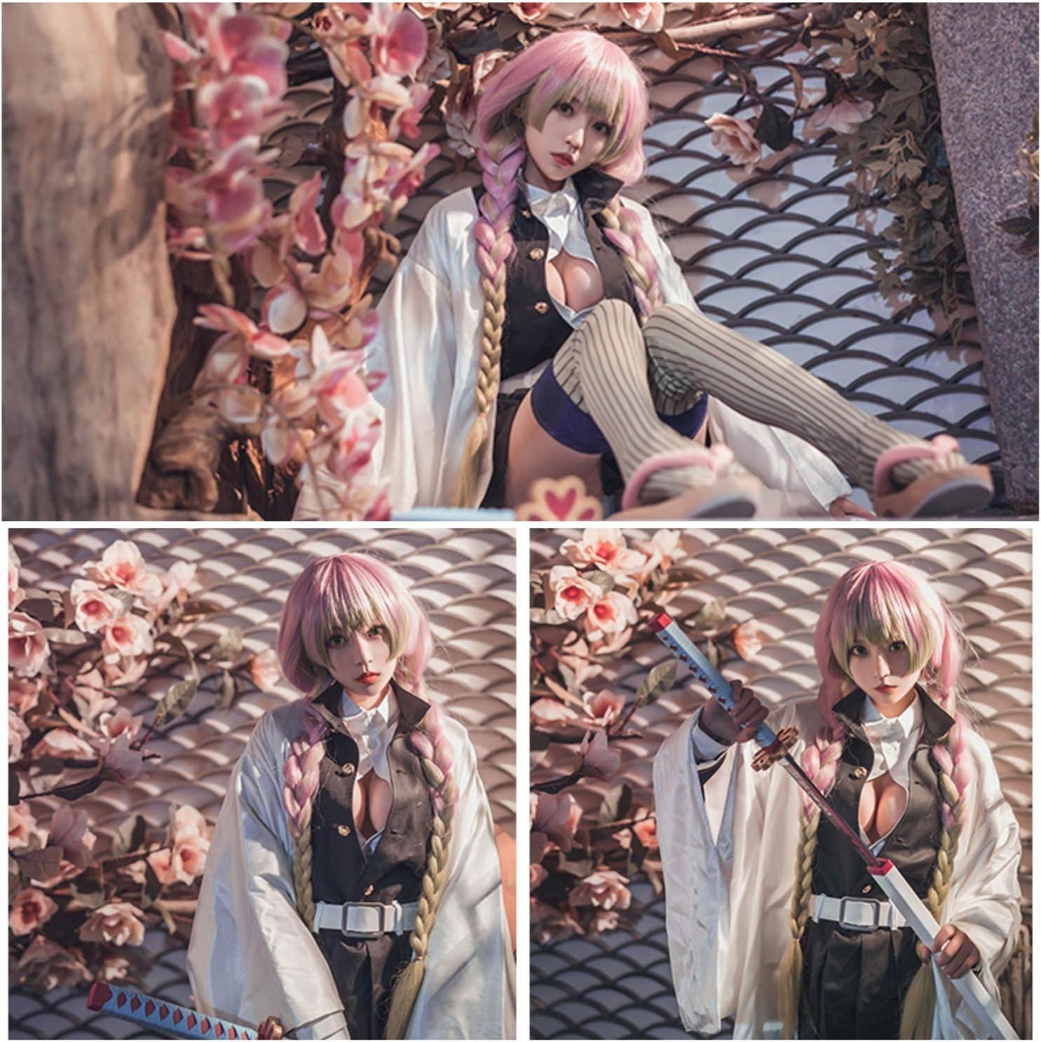 Anime Cosplay peluca para Demon Slayer Kimetsu no Yaiba Kamado Nezuko negro degradado marr/ón largo rizado pelo Cap juego de rol Pelucas de Halloween