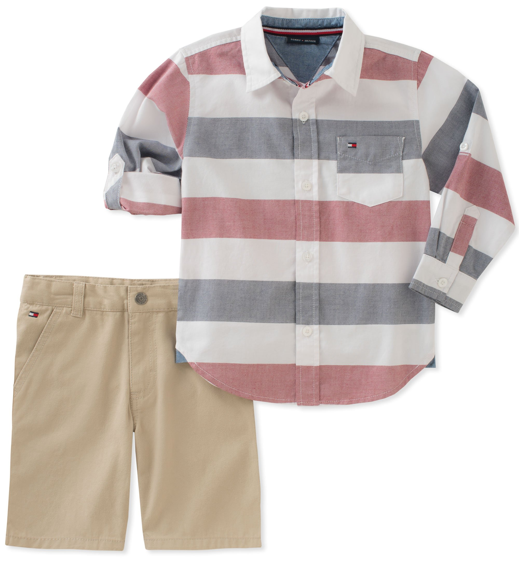 Tommy Hilfiger Boys' Toddler 2 Pieces Long Sleeves Shirt Shorts Set, Blue/White, 4T