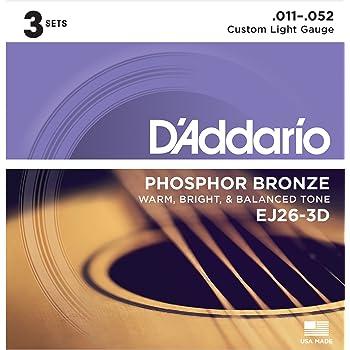 d 39 addario ej26 3d phosphor bronze acoustic guitar strings custom light 11 52 3. Black Bedroom Furniture Sets. Home Design Ideas